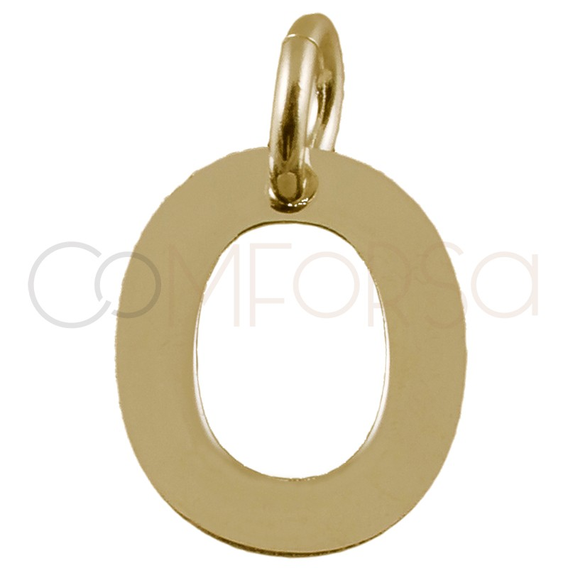 Sterling silver 925 gold-plated letter O pendant 6.5x8mm