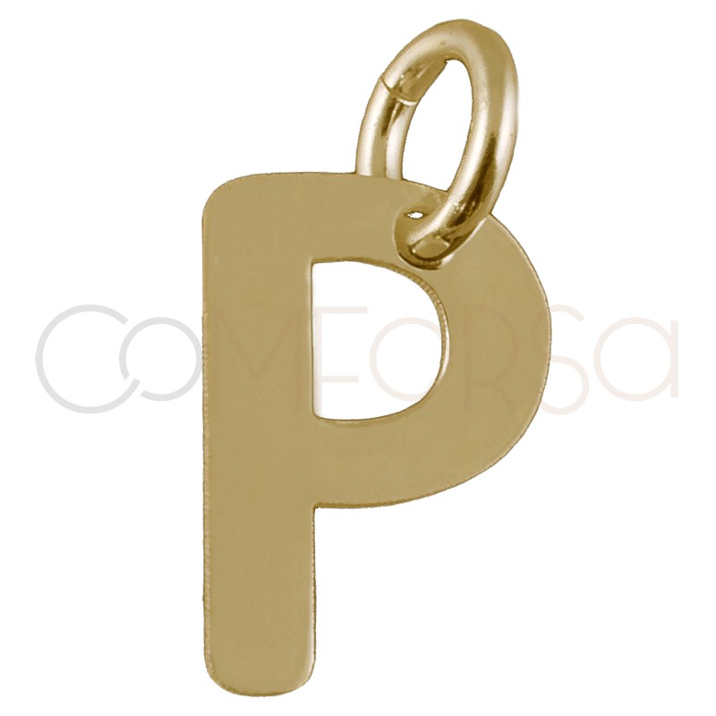 Sterling silver 925 gold-plated letter P pendant 5.1 x 8mm