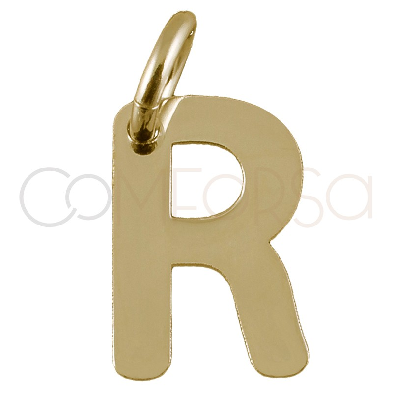 Sterling silver 925 gold-plated letter R pendant 5.3x8mm