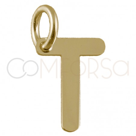 Sterling silver 925 gold-plated letter T pendant 6x8mm