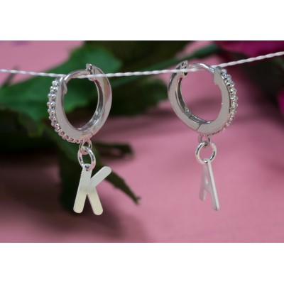 Sterling silver 925 letter F pendant 4.7x8mm
