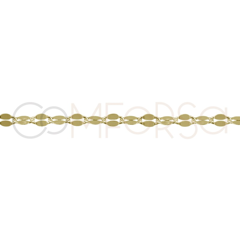 Sterling silver 925 gold-plated chain with flat links 6x3mm