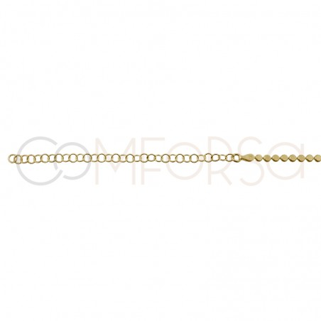 Sterling silver 925 gold-plated chain flat circles 40cm