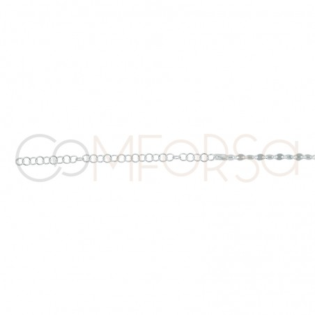 Sterling silver 925 gold-plated chain with flat links 36cm