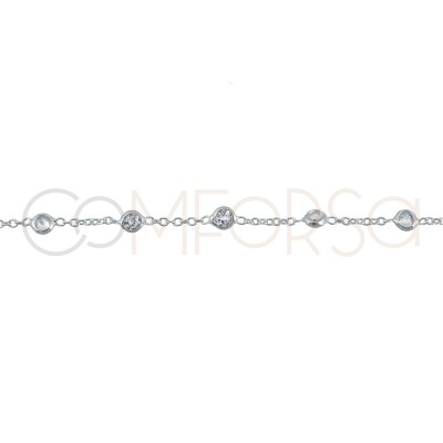 Sterling silver 925 chain with 7 zirconias 38cm