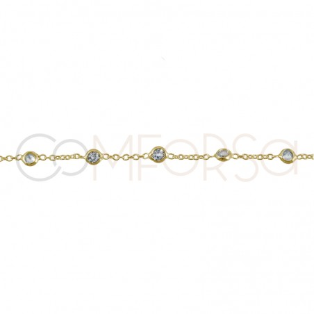 Sterling silver 925 gold-plated chain with 7 zirconias 38cm