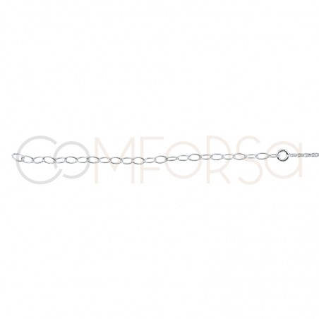 Sterling silver 925 chain with 3 zirconias 38cm