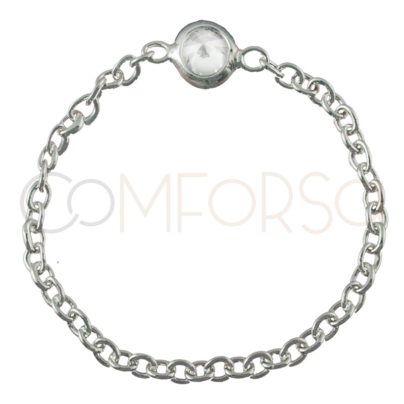 Sterling silver 925 chain ring with zirconia