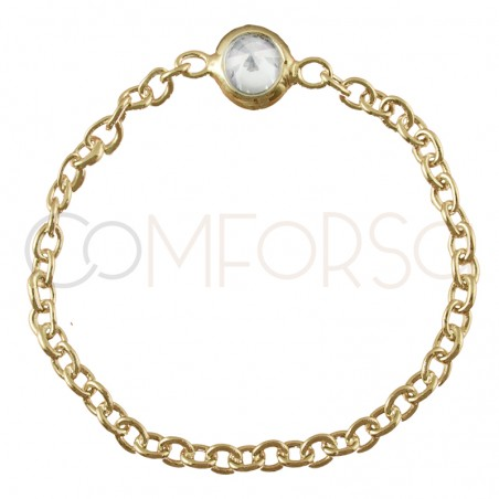 Sterling silver 925 gold-plated chain ring with zirconia