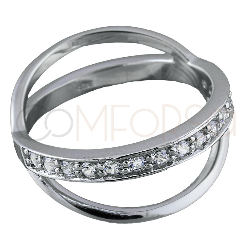Sterling silver 925 zirconia and bar ring