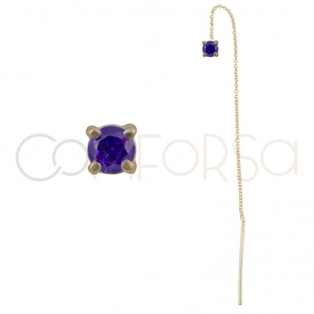 Sterling silver 925 chain earring with square Tanzanite zirconia 4mm