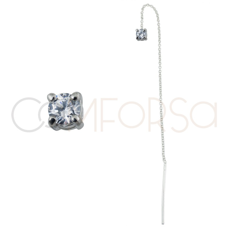 Sterling silver 925 chain earring with square zirconia 4mm