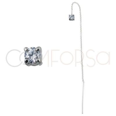 Pendiente con cadena y circonita 4mm cristal plata chapada en oro