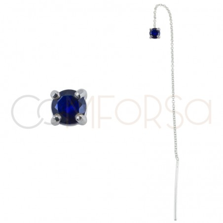 Sterling silver 925 chain earring with square Capri Blue zirconia 4mm