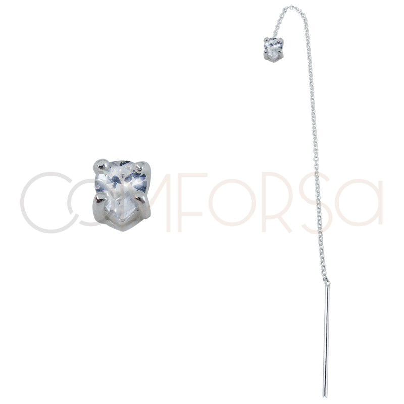 Sterling silver 925 chain earring with zirconia 4x5mm