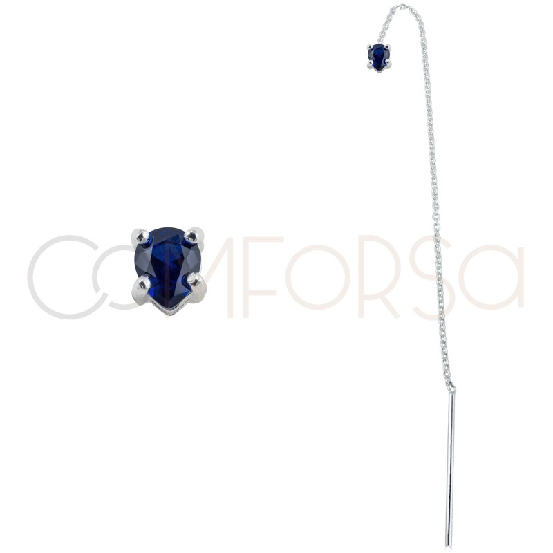 Sterling silver 925 chain earring with Capri Blue zirconia 4x5mm