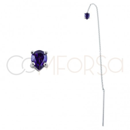 Sterling silver 925 chain earring with Tanzanite zirconia 4x5mm