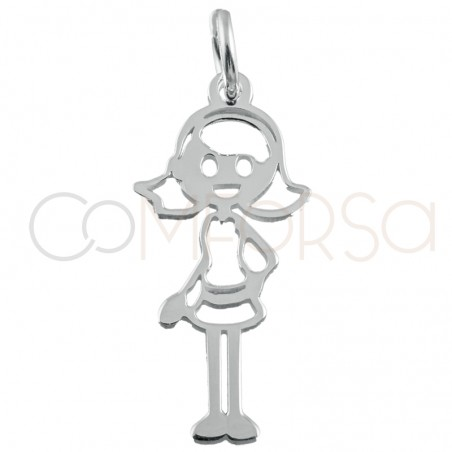 Sterling silver 925 girl cut-out pendant 10x22mm