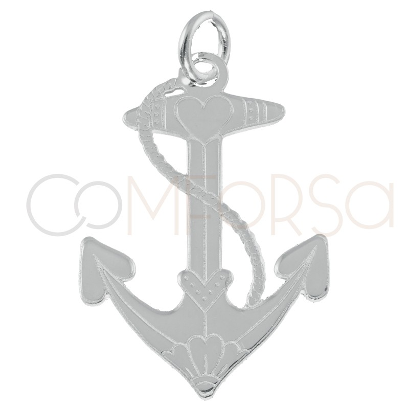 Sterling silver 925 anchor pendant 15x22mm