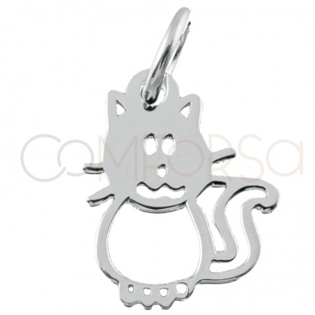 Sterling silver 925 cat pendant 9.5x12mm