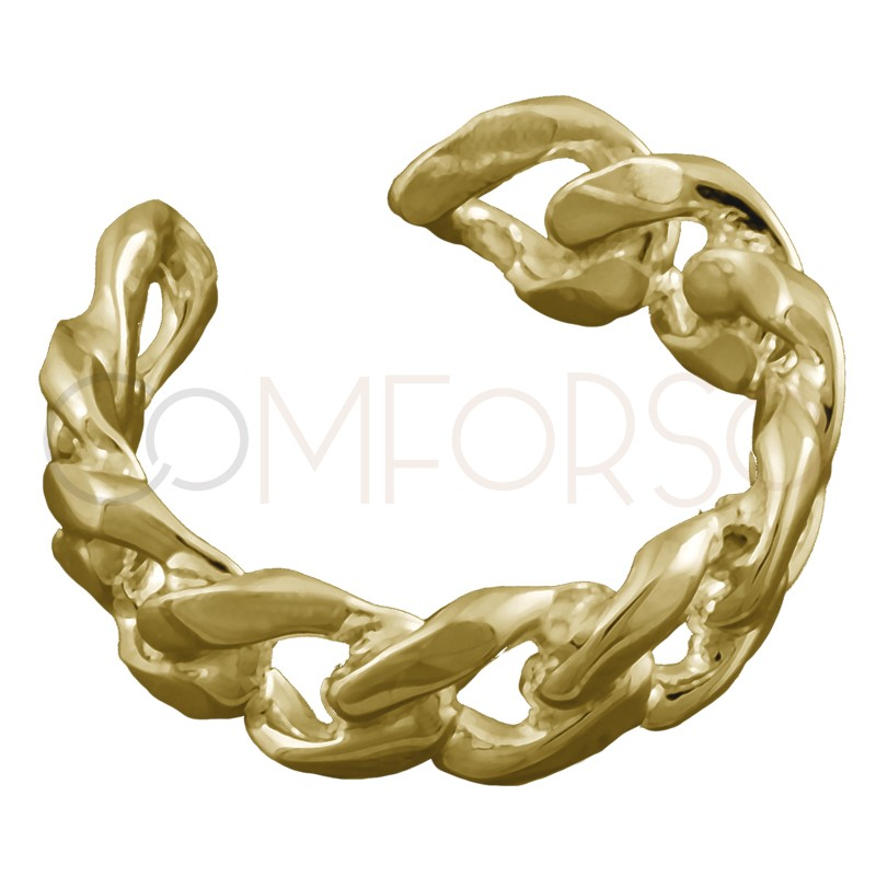 Sterling silver 925 gold-plated open chain ring