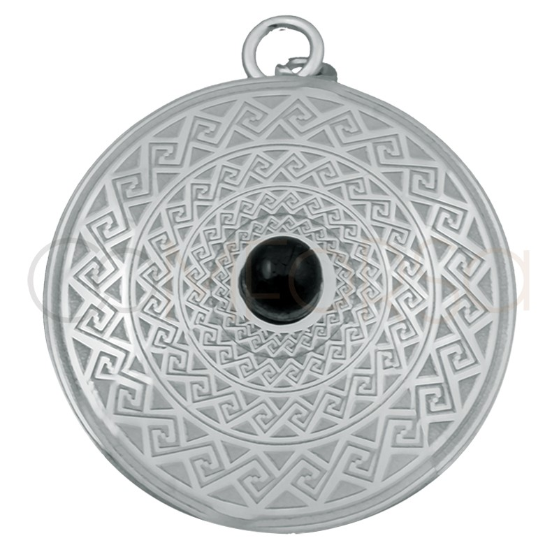 Sterling silver 925 Aztec pendant with black stone 25mm