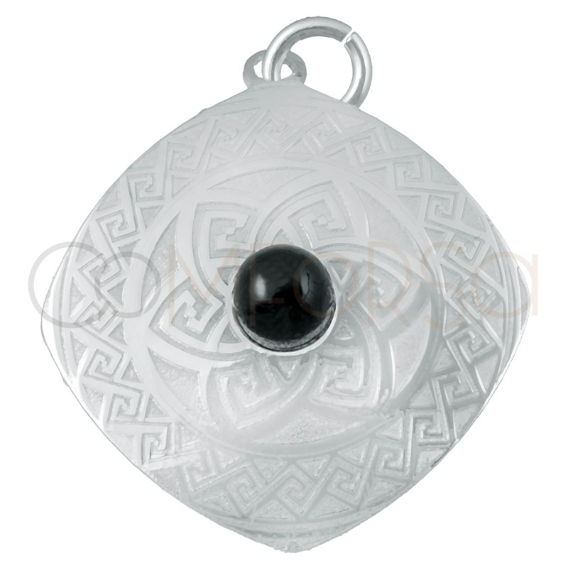 Sterling silver 925 Aztec pendant with black stone 20mm