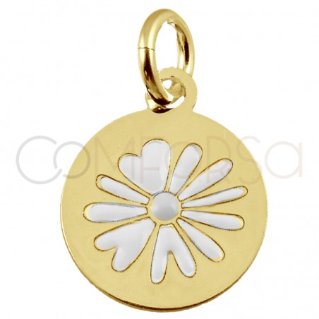 """Sterling silver 925 gold-plated flower pendant """"Daisy White"""" 10mm"""