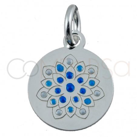 """Sterling silver 925 flower pendant """"Sunflower Blue"""" 10mm"""