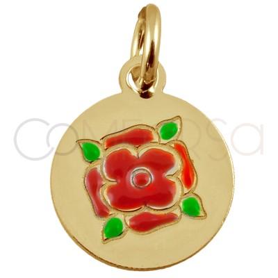 Colgante chapa con rosa roja 8 mm de plata de ley chapada en oro