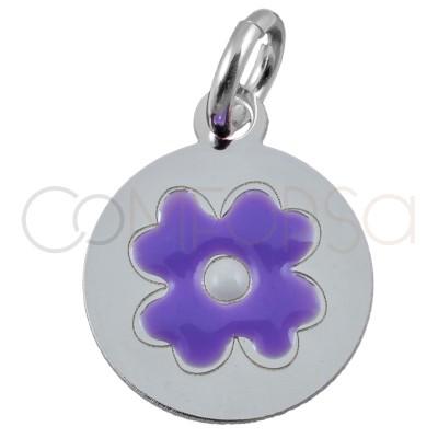 """Colgante flor """"Violet Purple"""" 10mm plata chapada en oro"""