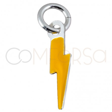 Sterling silver 925 lightning bolt pendant with yellow enamel 3x10mm