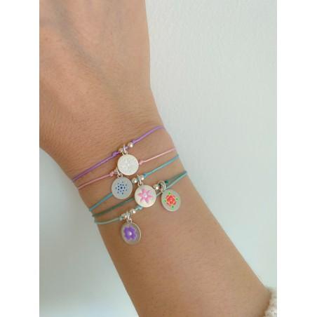 "Sterling silver 925 flower pendant ""Violet purple"" 10mm"