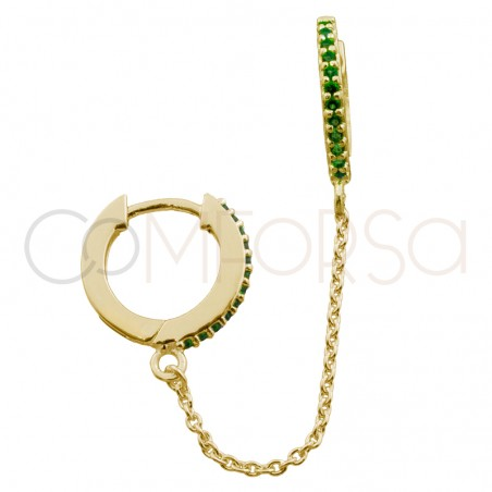 Sterling silver 925 gold-plated 12mm double hoop earring emerald zirconia and chain