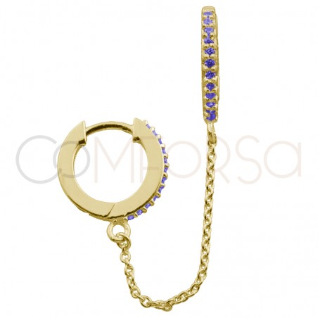 Sterling silver 925 12mm double hoop earring tanzanite zirconia and chain