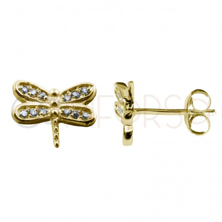 Sterling silver 925 dragonfly earring with zirconias 9x7mm