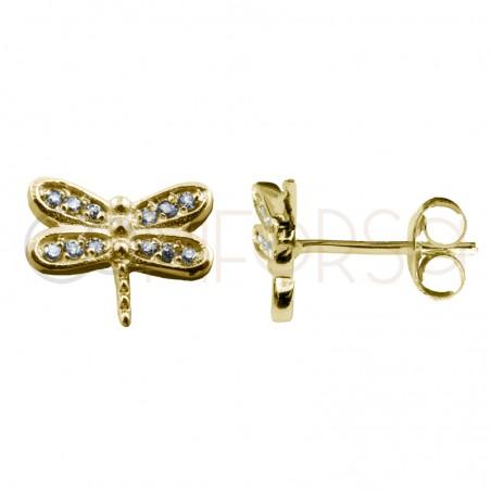 Pendiente libélula con circonita 9 x 7 mm plata chapada en oro