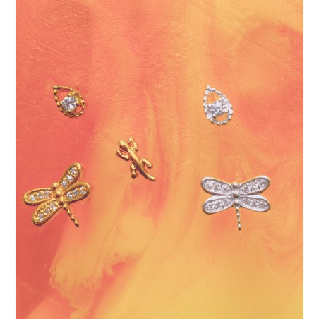 Sterling silver 925 gold-plated dragonfly earring with zirconias 9x7mm