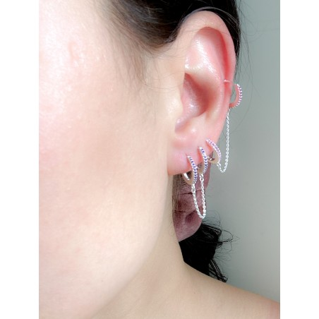 Sterling silver 925 12mm double hoop earring fuchsia zirconia and chain