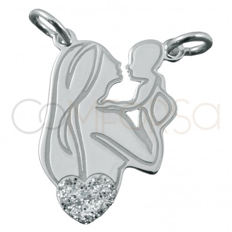 Sterling silver 925 mother and baby pendant 12.5x19mm