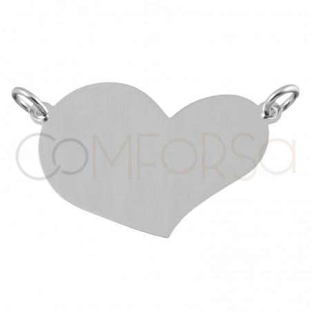 Sterling silver 925 irregular heart pendant 25x17.5mm