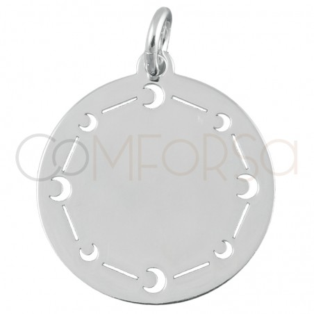 Sterling silver 925 plain pendant with moons 20mm