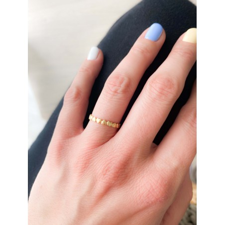 Sterling silver 925 gold-plated hearts ring