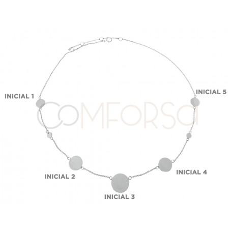 Gargantilla chapas iniciales 38cm + 6cm plata 925