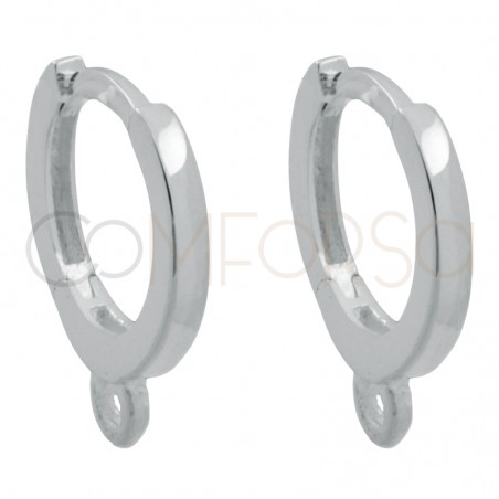 Sterling Silver 925 Gold Plated hoop earrings with ring 14 mm