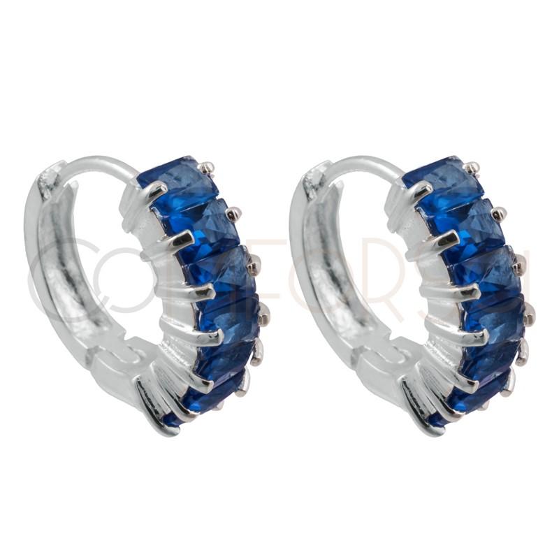 Sterling silver 925 Capri Blue zirconia hoop earrings 14mm