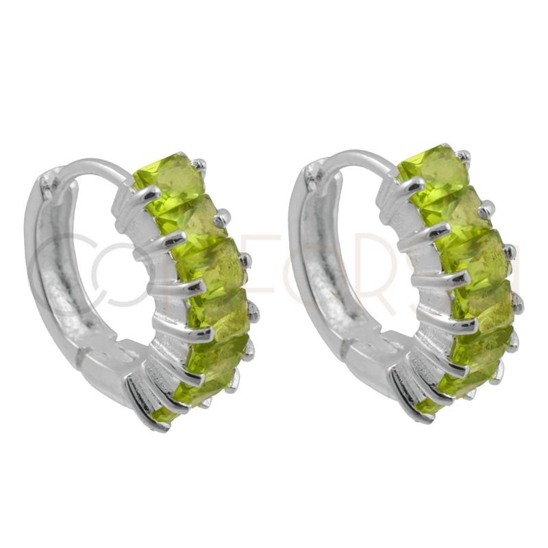 Sterling silver 925 peridot green zirconia hoop earrings 14mm