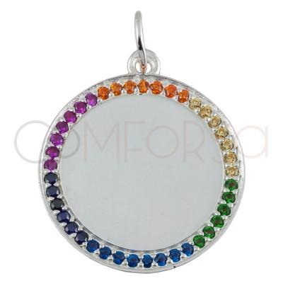Colgante medallón circonitas arco iris 20mm plata 925