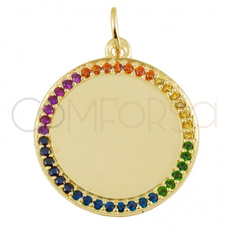 Sterling silver 925 gold-plated colorful zirconias pendant 20mm