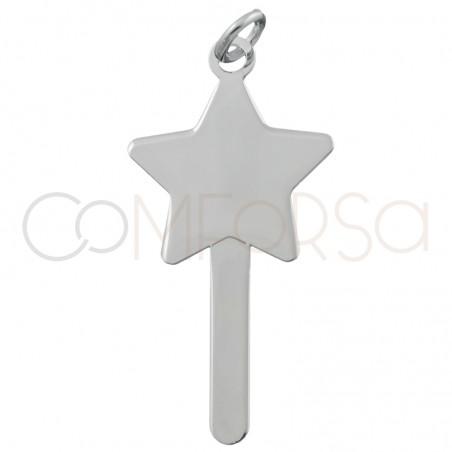 Sterling silver 925 magic wand pendant 15x15mm